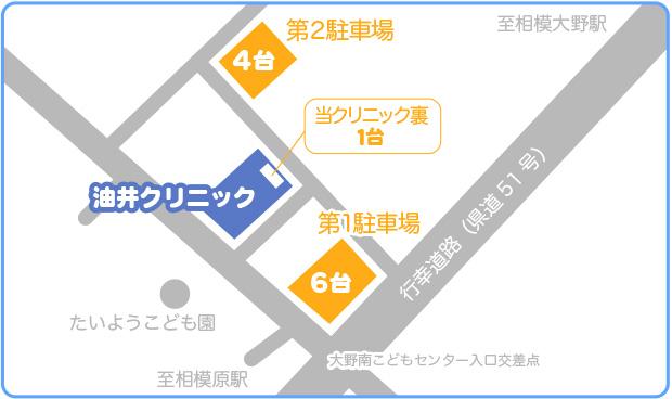 油井クリニックの駐車場パーキング案内図